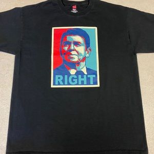 Ronald Reagan RIGHT Graphic T-shirt Black Large